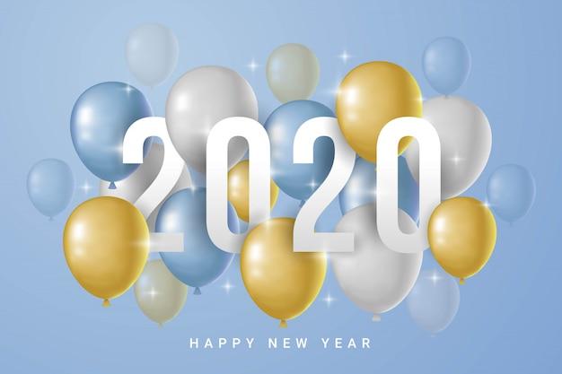 Frohes neues jahr 2020 mit luftballons auf blauem hintergrund Premium Vektoren