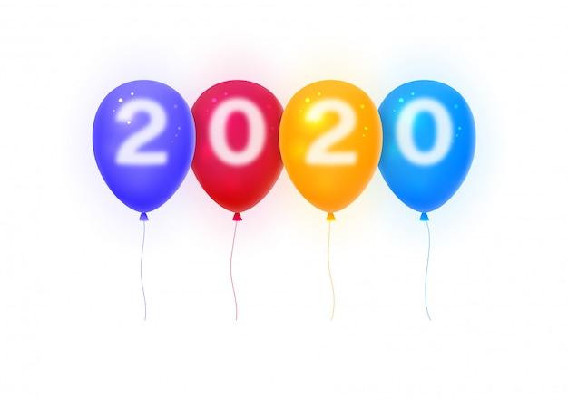 Frohes neues jahr 2020. nummern 2020 auf bunten luftballons. Premium Vektoren