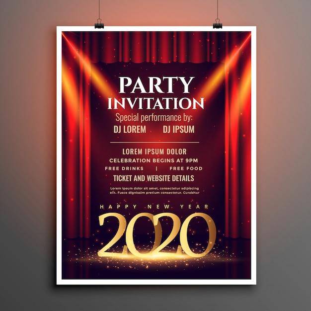 Frohes neues jahr 2020 party einladungsvorlage Kostenlosen Vektoren