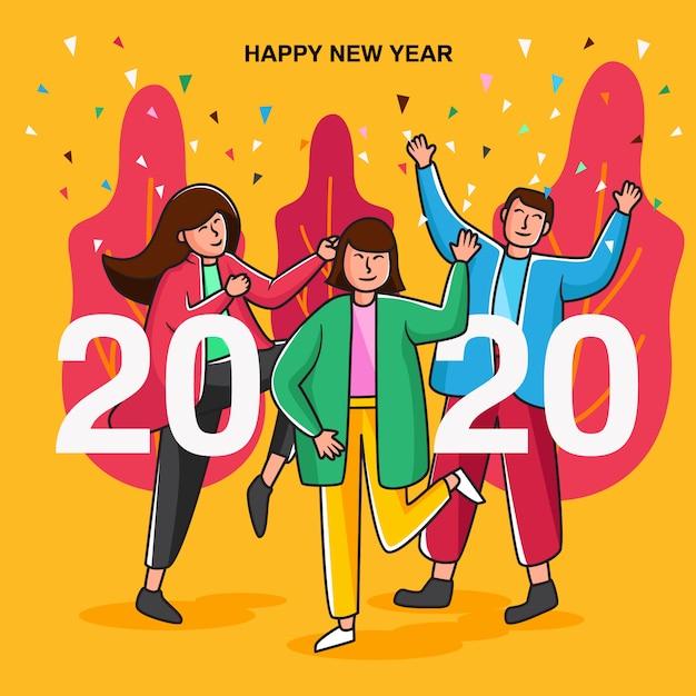 Frohes neues jahr 2020 party-karte Premium Vektoren