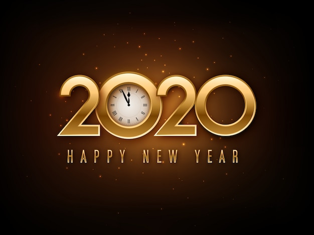 Frohes neues jahr 2020 schriftzug mit uhr Premium Vektoren