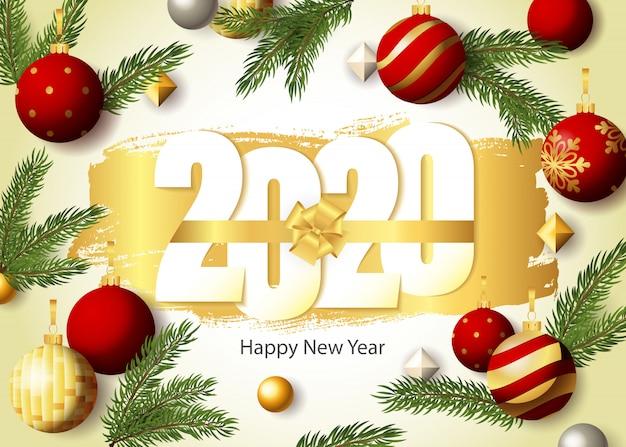 Frohes neues jahr, 2020 schriftzug, tannenzweige und kugeln Kostenlosen Vektoren
