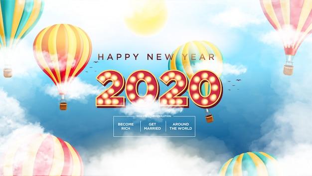 Frohes neues jahr 2020 text movie style Premium Vektoren