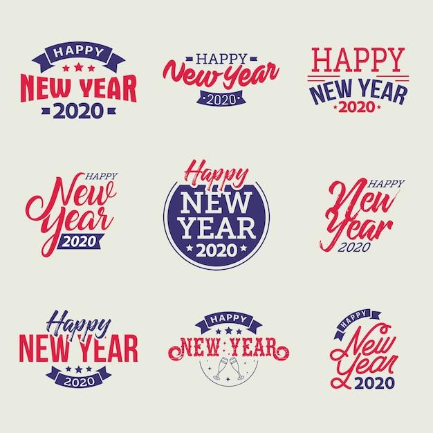 Frohes neues jahr 2020 typografische embleme festgelegt Premium Vektoren