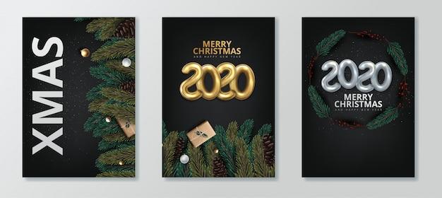 Frohes neues jahr 2020 und frohe weihnachten grußkarte festgelegt Premium Vektoren