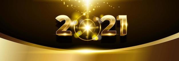 Frohes neues jahr 2021 hintergrund mit goldener zahl und uhr Kostenlosen Vektoren