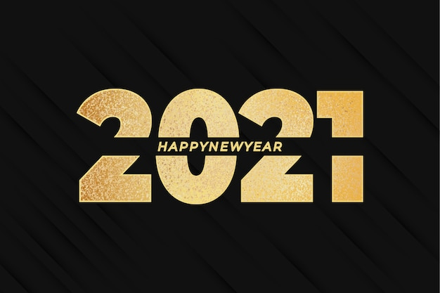 Frohes neues jahr 2021 mit golden effect und abstract Kostenlosen Vektoren