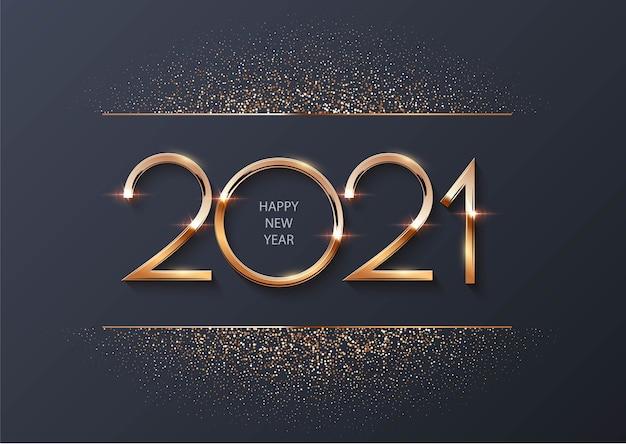 Frohes neues jahr 2021 mit goldenen partikeln Premium Vektoren
