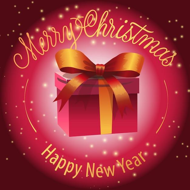 Frohes neues jahr, frohe weihnachten-schriftzug mit geschenkbox Kostenlosen Vektoren