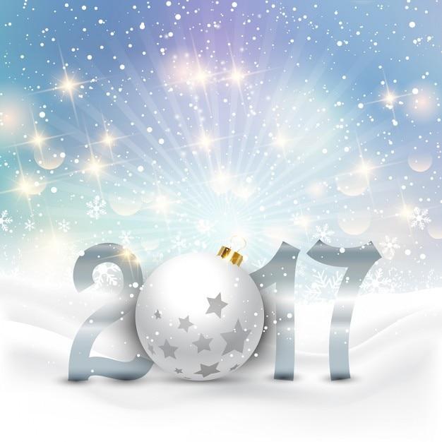 Frohes Neues Jahr Hintergrund mit Kugeln und Schnee Kostenlose Vektoren