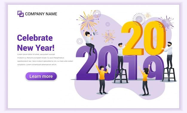 Frohes neues jahr landing page Premium Vektoren