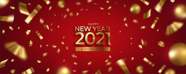 Frohes neues jahr und frohe weihnachten banner mit goldenen konfetti und kugeln Kostenlosen Vektoren
