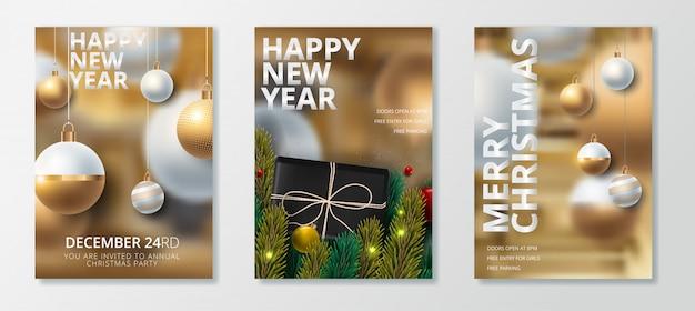 Frohes neues jahr und frohe weihnachten grußkarte festgelegt Premium Vektoren