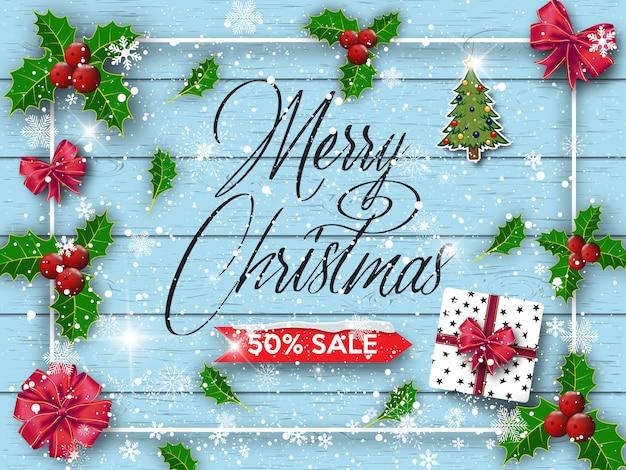 Frohes neues jahr und frohe weihnachten. Premium Vektoren