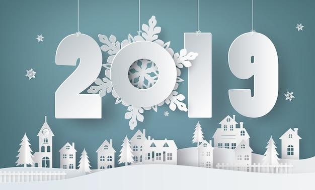 Frohes neues jahr und wintersaison Premium Vektoren