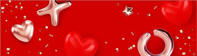 Frohes valentinstagbanner mit goldmetallicobjekt und herzillustration Premium Vektoren