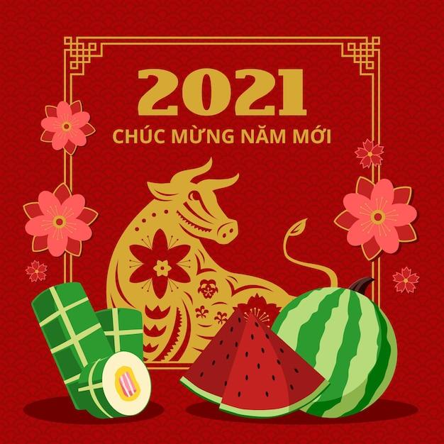 Frohes vietnamesisches neues jahr 2021 wassermelone Kostenlosen Vektoren