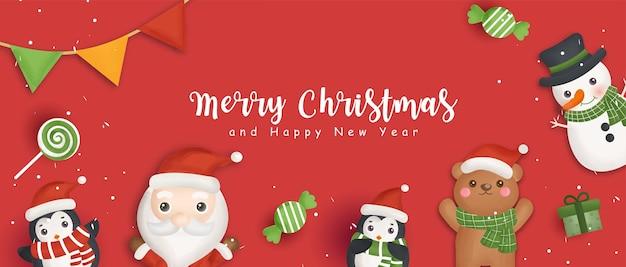 Frohes weihnachtsbanner mit weihnachtsmann und freunden. Premium Vektoren