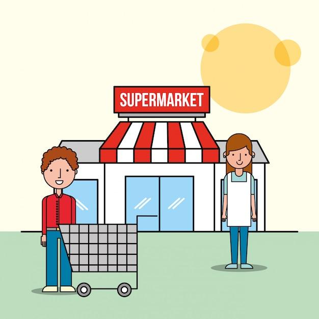 Frontsupermarkt der verkäuferin und des kundenmannes mit warenkorb Kostenlosen Vektoren