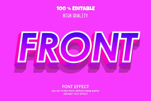 Fronttext, editierbarer font-effekt Premium Vektoren