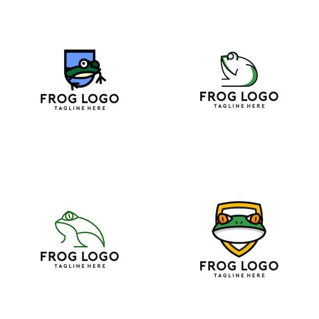Frosch-logo-sammlung Premium Vektoren