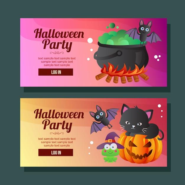 Frosch-schlägerkatze der halloween-fahne horizontale Premium Vektoren
