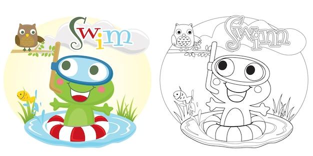 Frosch schwimmt im fischteich mit einer eule Premium Vektoren