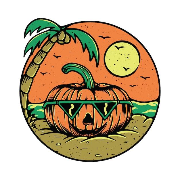 Frucht-kürbis-sommer-strand-illustration Premium Vektoren