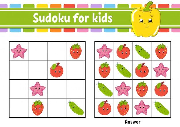 Frucht sudoku arbeitsblatt Premium Vektoren
