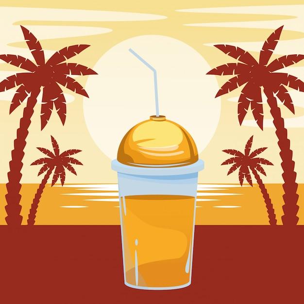 Frucht tropische smoothiegetränkkarikatur Kostenlosen Vektoren