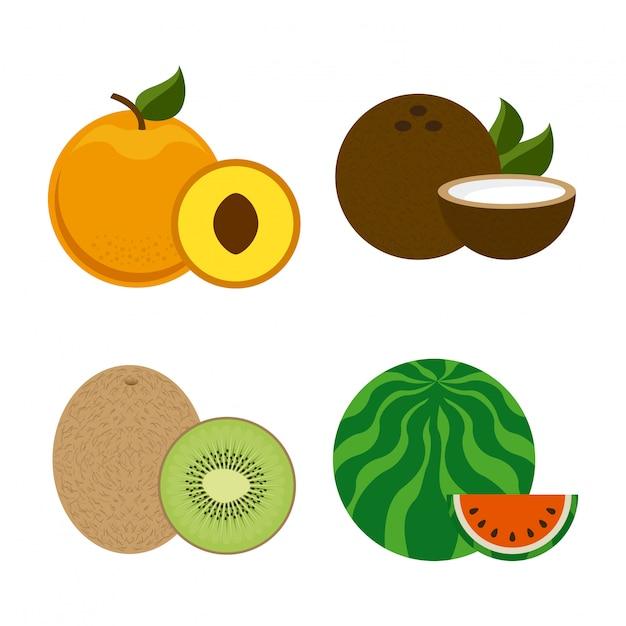 Fruchtdesign über weißer hintergrundvektorillustration Premium Vektoren