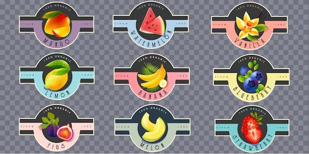 Fruchtetiketten für saft, joghurt, marmelade Premium Vektoren