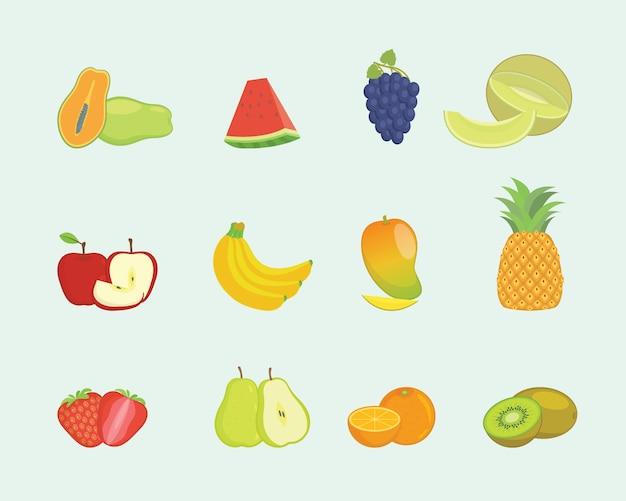 Fruchtgarnitur in verschiedenen formen und farben im modernen flachen stil Premium Vektoren