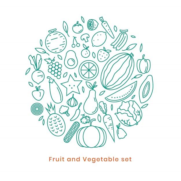 Fruchtikonendesign auf vektor Premium Vektoren