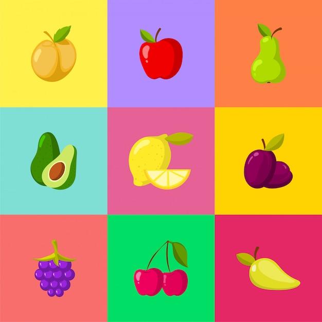 Fruchtkarikaturikonen eingestellt. apfelpflaumenzitrone-kirschbirnenavocado Premium Vektoren