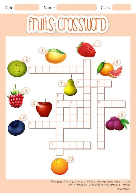 Fruchtkreuzkreuzworträtsel Kostenlosen Vektoren