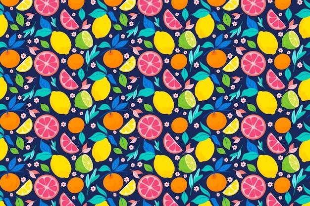 Fruchtmusterdesign mit zitrusfrüchten Premium Vektoren