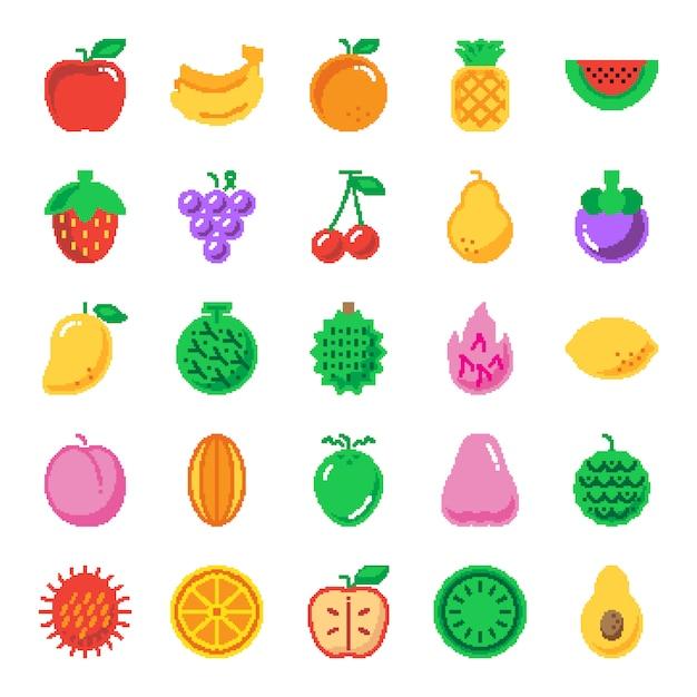 Fruchtpixel-kunstikonen Premium Vektoren