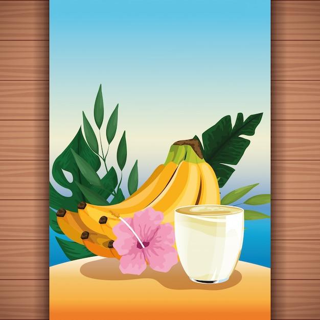 Fruchtsaft der tropischen erfrischung des sommers Kostenlosen Vektoren