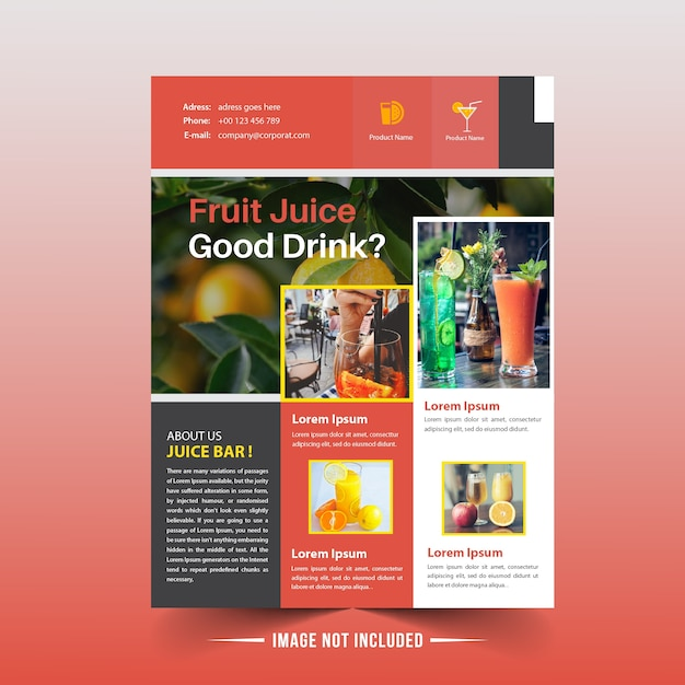 Fruchtsaft-Shop-Flieger-Schablone | Download der Premium Vektor