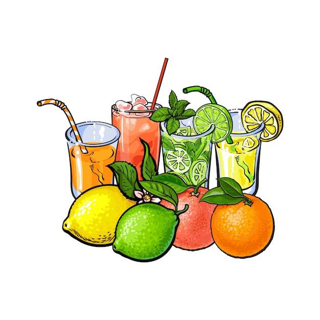 Fruchtsaftgläser Premium Vektoren