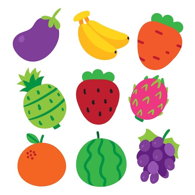 Fruchtvektorsammlungsdesign Premium Vektoren