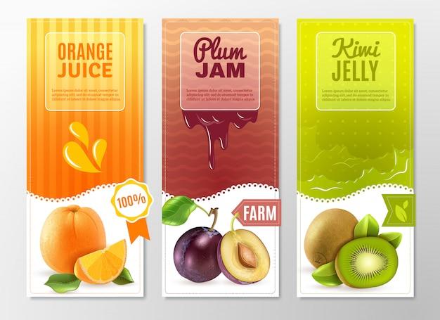 Früchte 3 werbebanner eingestellt Kostenlosen Vektoren