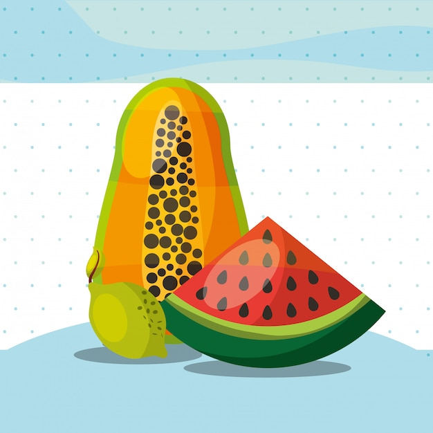 Früchte frische organische gesunde wassermelone papaya-zitrone Premium Vektoren