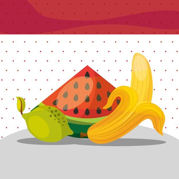 Früchte frische organische gesunde wassermelone zitronenbanane Premium Vektoren