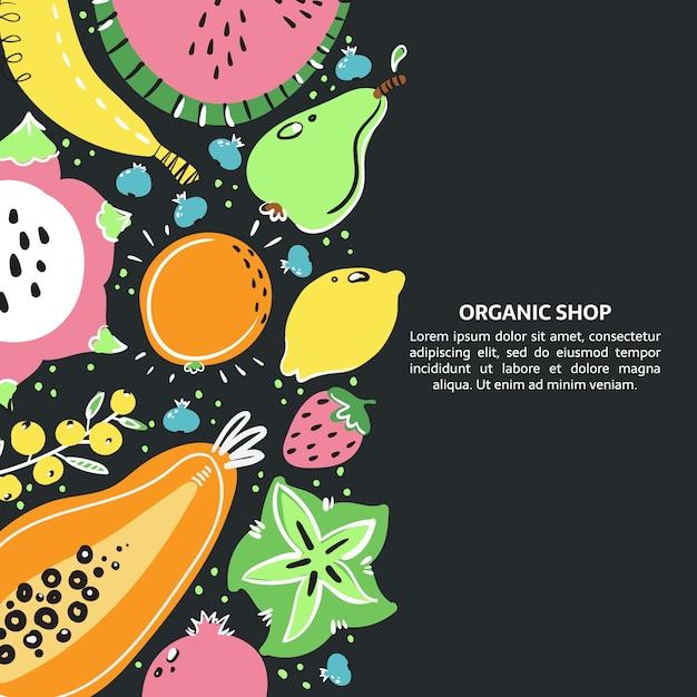 Früchte handgezeichnetes banner. gesunde mahlzeit, ernährung oder lebensstil. Premium Vektoren