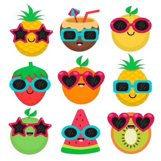 Früchte mit sonnenbrille im sommersatz Premium Vektoren