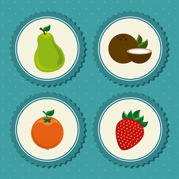 Früchte setzen etikett auf blau gepunktet Kostenlosen Vektoren