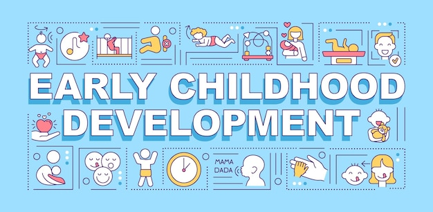 Frühkindliche entwicklung wortkonzepte banner Premium Vektoren