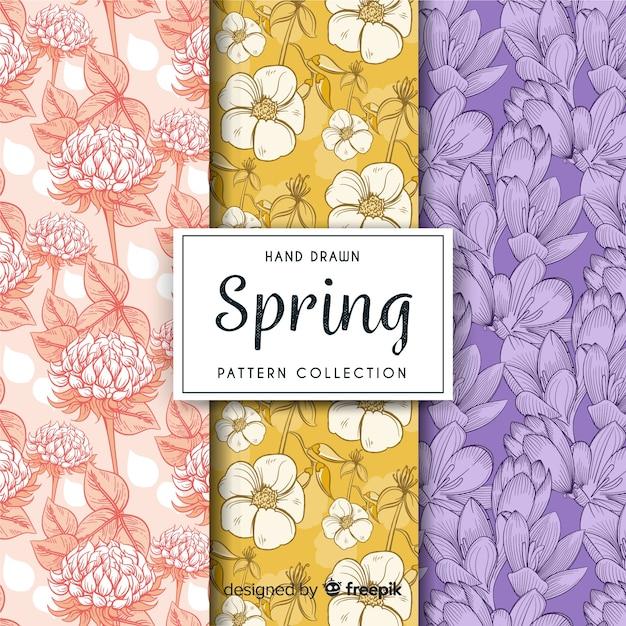 Frühling blumenmuster pack Kostenlosen Vektoren